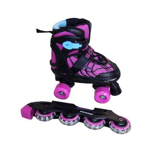Schwinn Girls' Adjustable 2-in-1 Quad/Inline Skate - Black/Pink 1-4