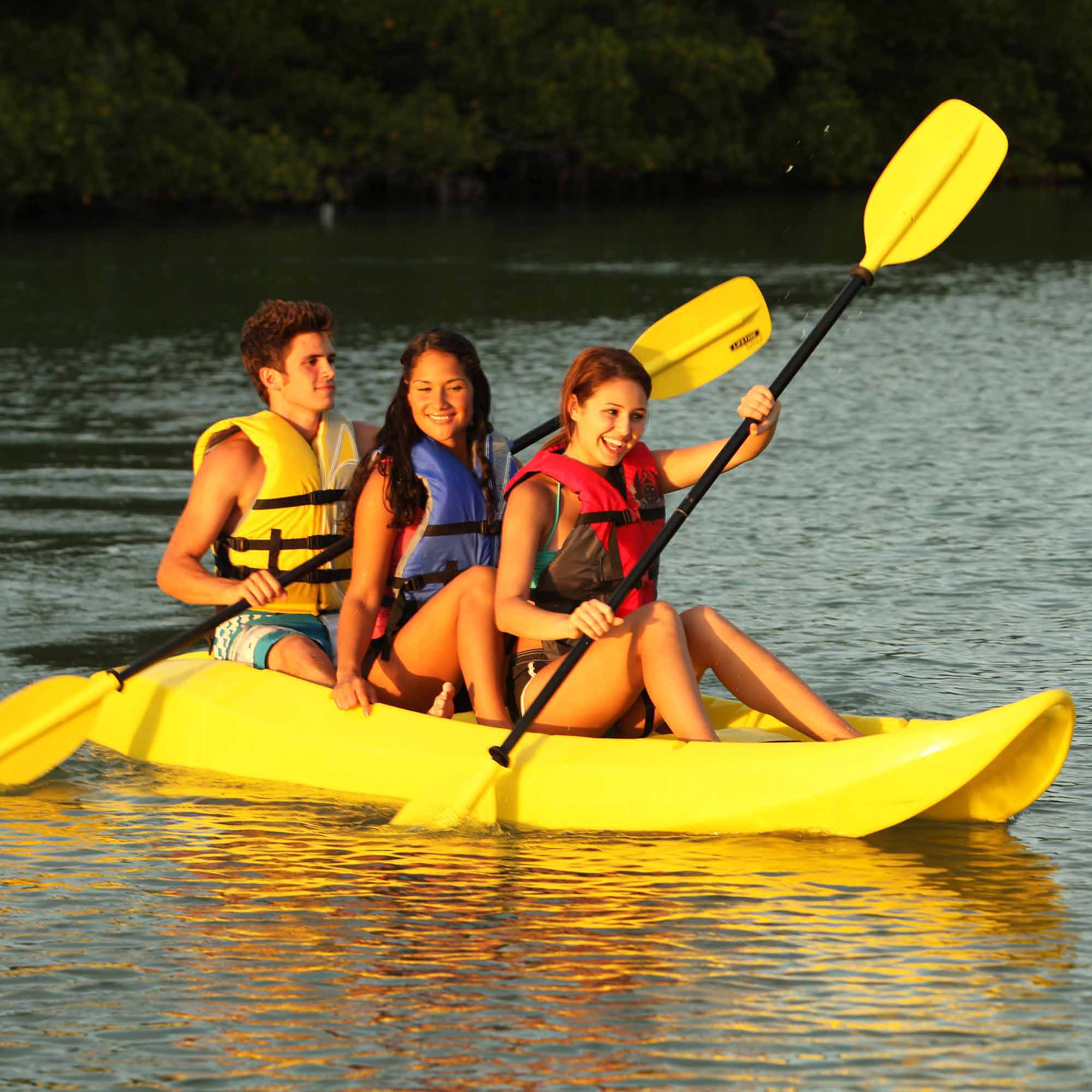 Lifetime, 10', 3-Man Manta Tandem Kayak, Yellow, with 2 Bonus Backrests