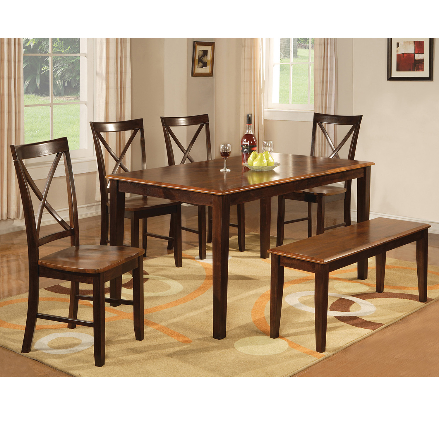 Home Source Nell Mahogany 6 Piece Dining Set with 1 Table, 4 Chairs, and 1 Bench
