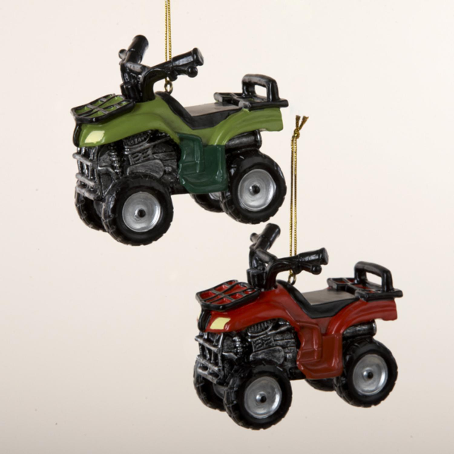 Pack of 12 Country Heritage Red and Green ATV Vehicle Christmas Ornaments 3.5""