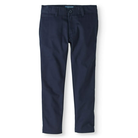Boys' School Uniform Twill Modern Fit Pants With Adjustable Waist ()