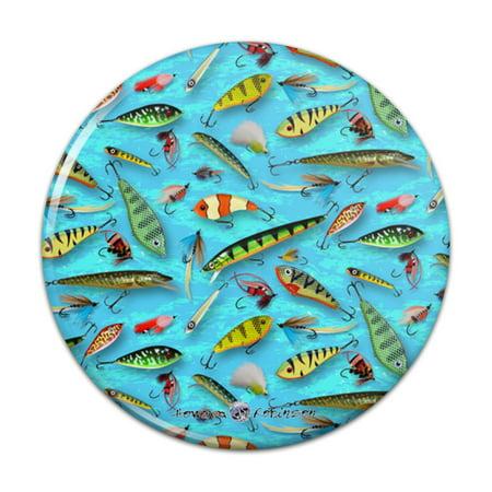 Fishing Flies Lures Fish Pattern Pinback Button Pin Badge Fish Fishing Fly