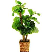 38 in. Mini Fiddle-Leaf Fig Tree in a Square Basket with Faux Dirt