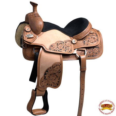 15 In Western Horse Ranch Roping Saddle Hilason American Leather American Ranch Horse