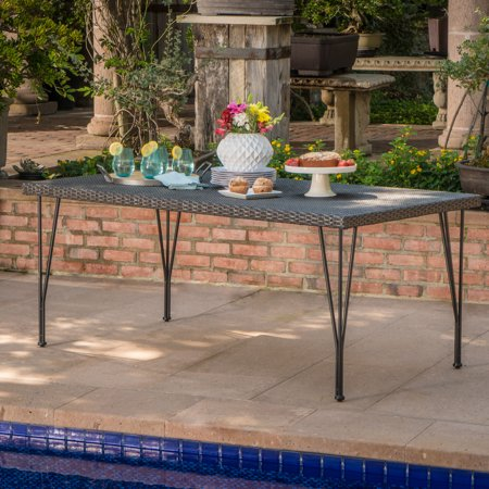 Rectangular Wicker Table - Richmond Outdoor Wicker Rectangular Dining Table with Hair Pin Legs, Grey