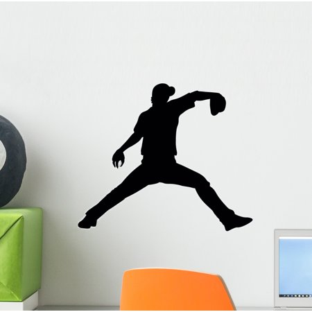 Baseball Silhouette Wall Decal by Wallmonkeys Peel and Stick Graphic (12 in W x 10 in H) WM117602 (Baseball Silhouette)