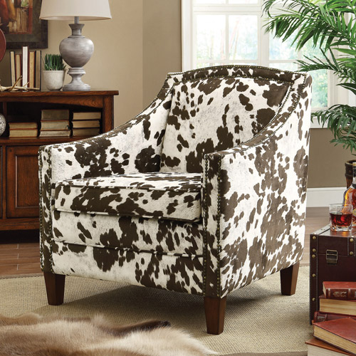 Coaster Cow Pattern Accent Chair, Brown/White