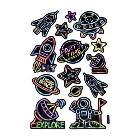 Outer Space Holographic Foil Neon Stickers, 14-Piece - Space Fireflies