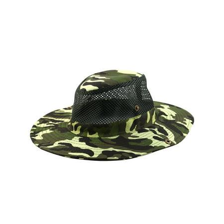 Men Summer Wide Brim Western Style Camouflage Mesh Cap Net Sunhat Cowboy Hat   1 ffc1beeeadc
