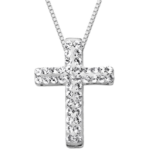 Luminesse Sterling Silver Cross Pendant with White Swarovski Elements