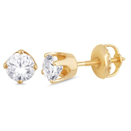 3/5 ct Diamond Stud Earrings (I3 Clarity, IJ color) 10kt Yellow Gold.