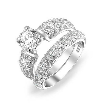 Vintage Style 1CT Round Solitaire Filigree AAA CZ Engagement Wedding Band Ring Set For Women 925 Sterling Silver