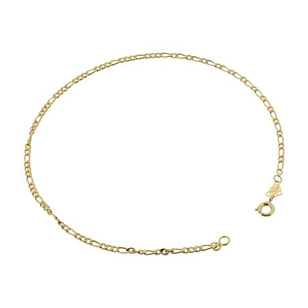 18k Gold Layered Figaro Chain Ankle Bracelet 11 Inch