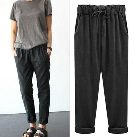 Womens Linen Pant Casual Elastic Waist Ninth Pants Trousers Wide Leg Pants Large Plus Size M-6XL Harem - Lego Size Chart