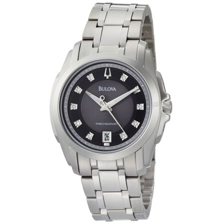 Bulova 96D110 Men's Precisionist Longwood Diamond Black Dial Steel Bracelet Watch