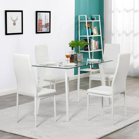 Ktaxon 5 Pieces Modern Glass Dining Table Set Leather With 4 (Modern Glass Dining)
