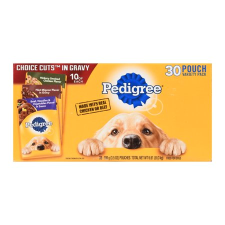 (30 Pack) PEDIGREE CHOICE CUTS IN GRAVY Adult Wet Dog Food Variety Pack, Hickory Smoked Chicken Flavor, Filet Mignon Flavor, and Beef, Noodles, & Vegetables Flavor, 3.5 oz. Pouches Filet Mignon Flavor