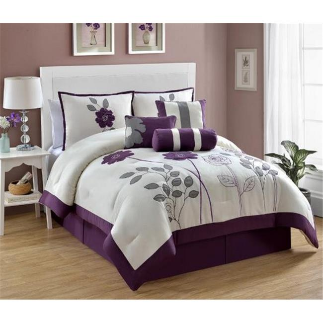 Luxury Home Adrienne Comforter Set-Plum, Queen