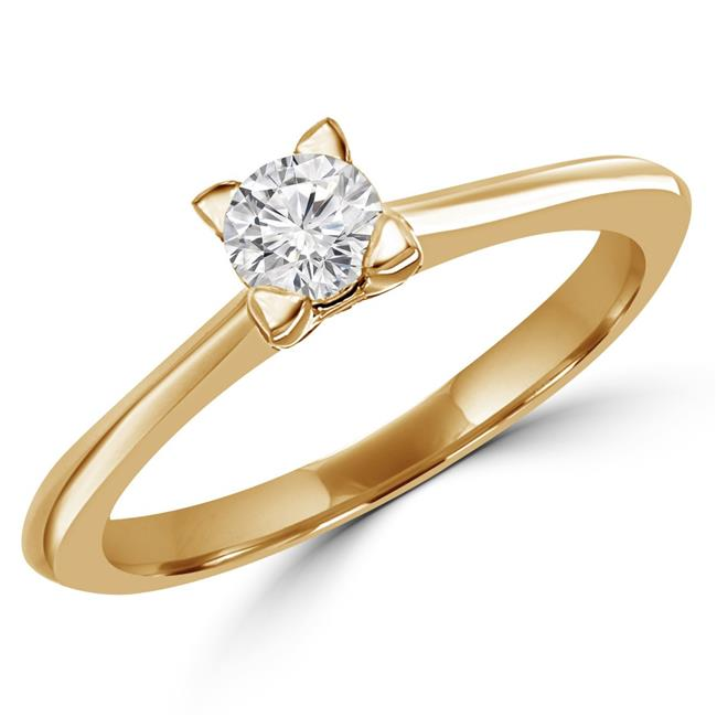 MD170190-5.25 0.25 CT Round Diamond Solitaire Engagement Ring in 10K Yellow Gold - 5.25
