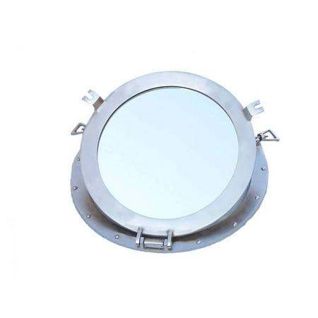 Brushed Nickel Decorative Ship Porthole Mirror 17