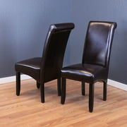 Milan Faux Leather Dark Brown Dining Chairs Set Of 2
