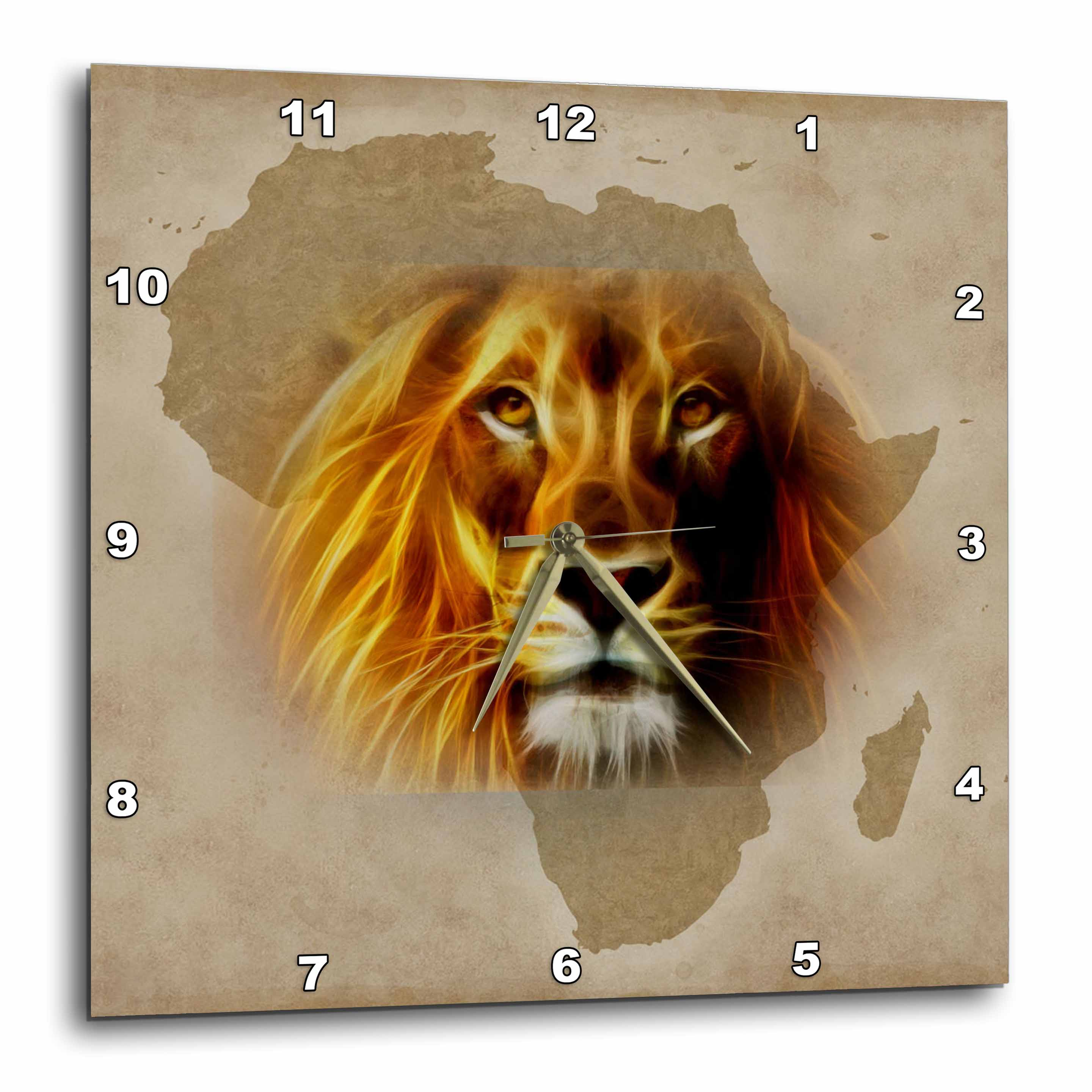 3dRose King of the Jungle Lion and Africa Map art original, Wall Clock, 15 by 15-inch