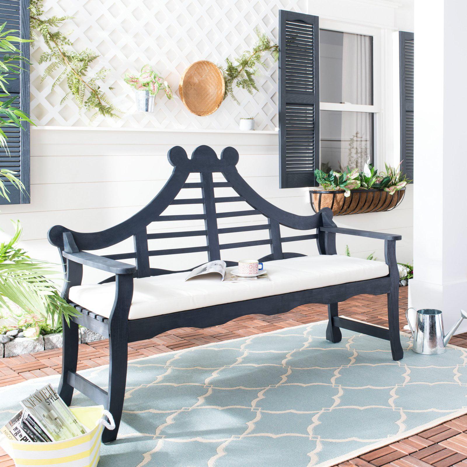 Safavieh Azusa Indoor/Outdoor Traditional Garden Bench with Cushion