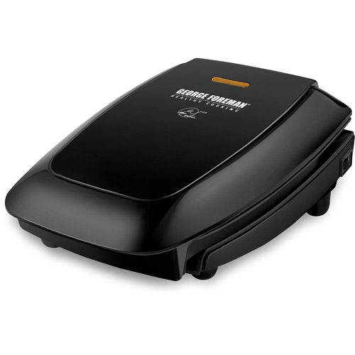 George Foreman 4-Serving Fixed Plate Grill, Black
