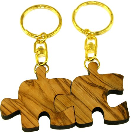 Olive Family Wood (Puzzle Olive wood Keys Chain or ring - Family, Friends or Lovers forever symbol (2) )