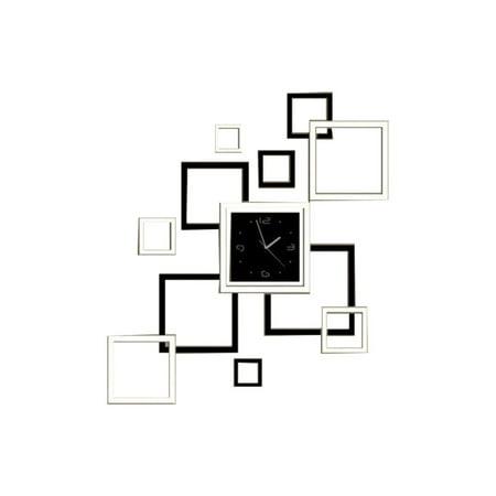 Tone Clock Circuit - Living Room Square Designed DIY Wall Sticker Digital Clock Silver Tone Black