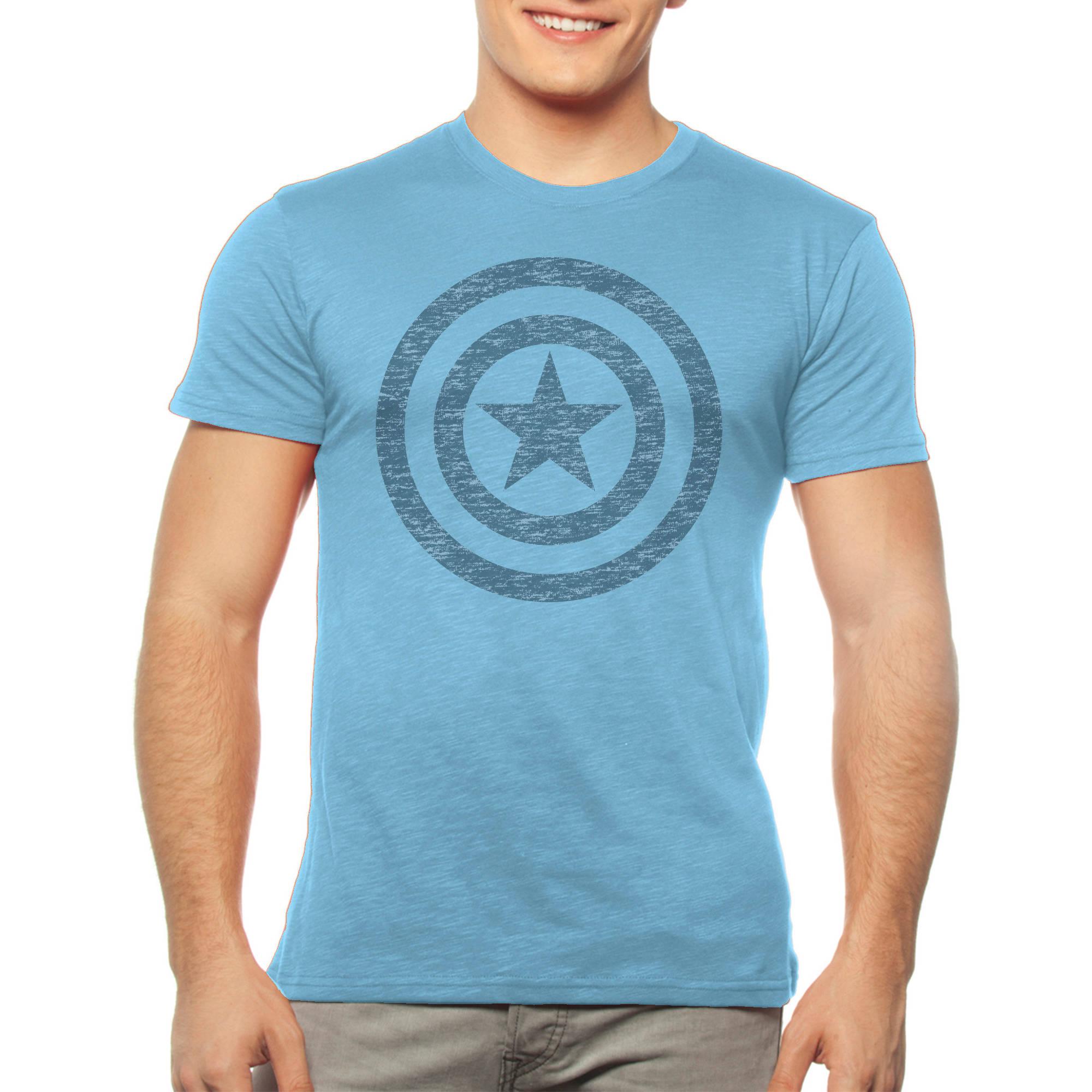 Marvel Big Men's Captain America Shield Logo Short Sleeve Graphic Tee, 2XL