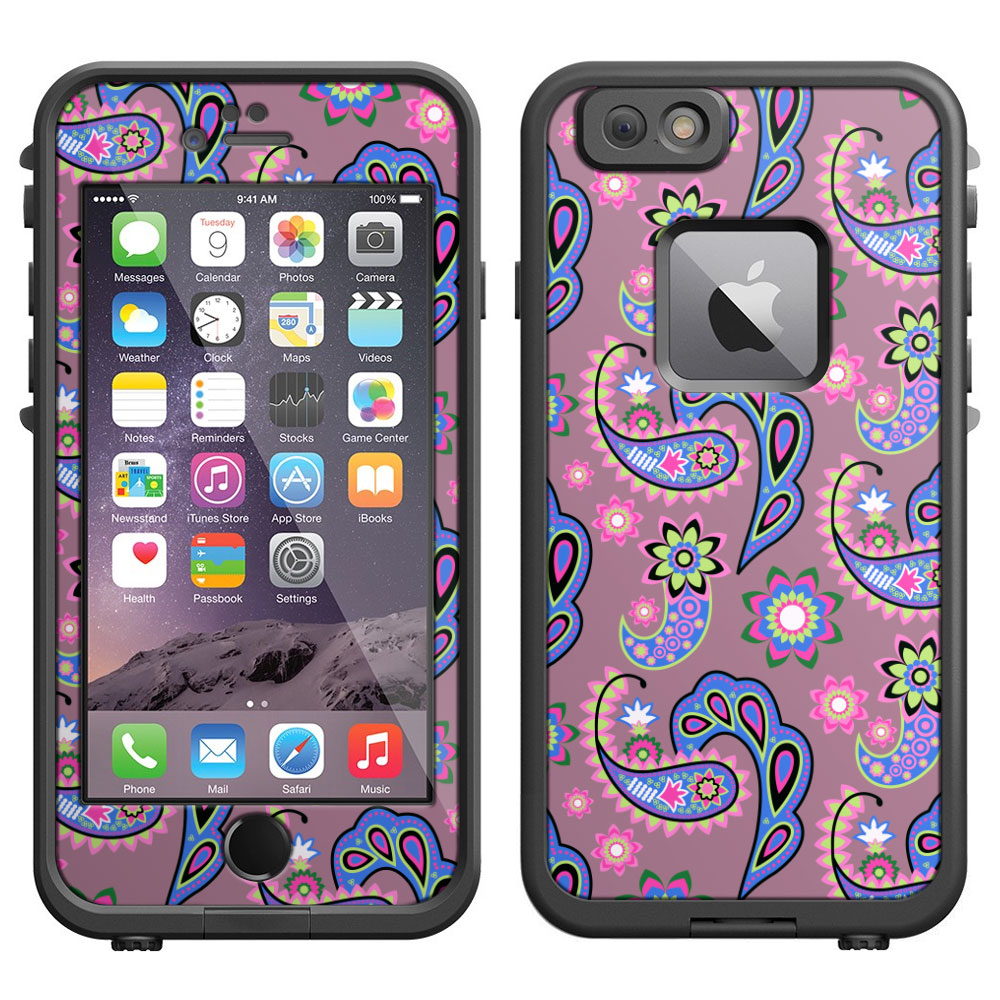SKIN DECAL FOR LifeProof iPhone 6 Case - Paisley Pastel on Lavender DECAL, NOT A CASE