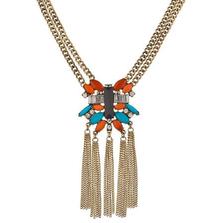 Lux Accessories Turquoise & Orange Stone Crystal Fringe Statement (Crystal Briolette Fringe Necklace)