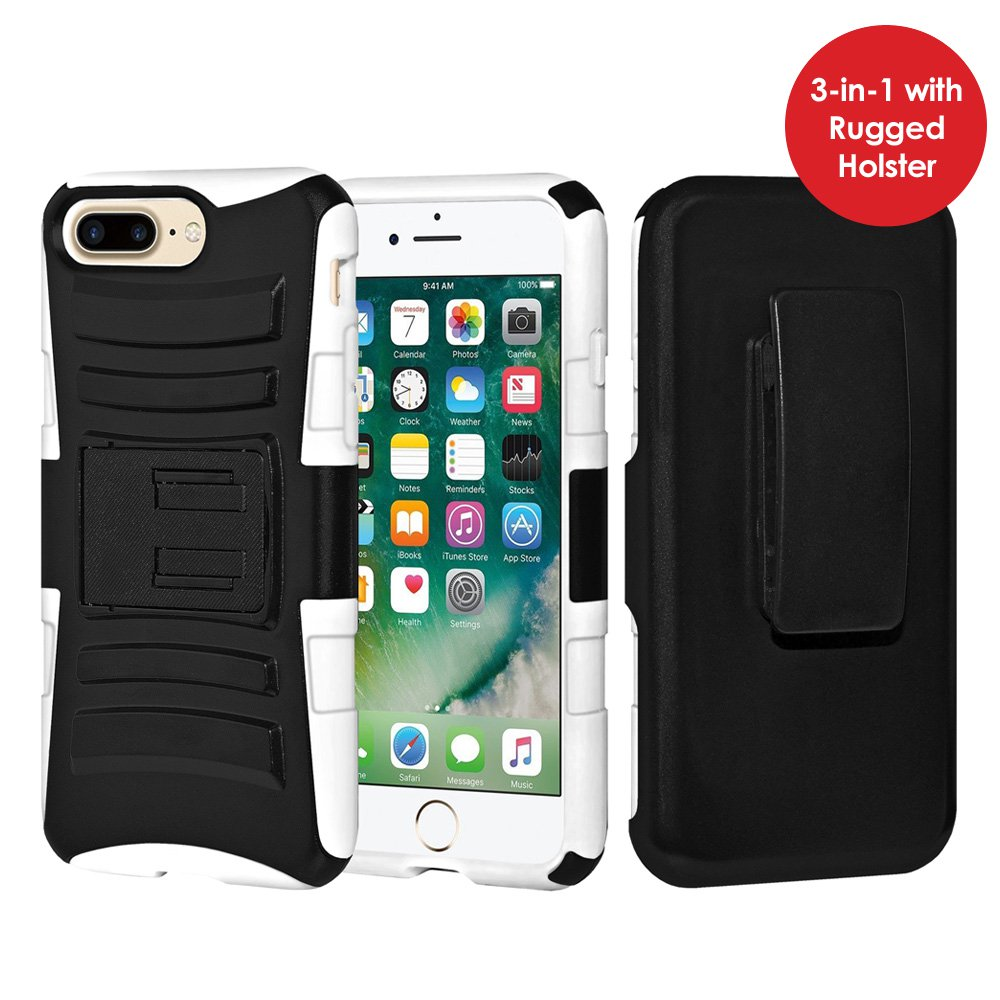 iPhone 7 Plus Case Tempered Glass Combo Kit, Rugged TUFF Hybrid Dual Layer Hard Defender Case with Belt Clip Holster and Premium Protective Shockproof Screen Guard for iPhone 7 Plus, Black/ White