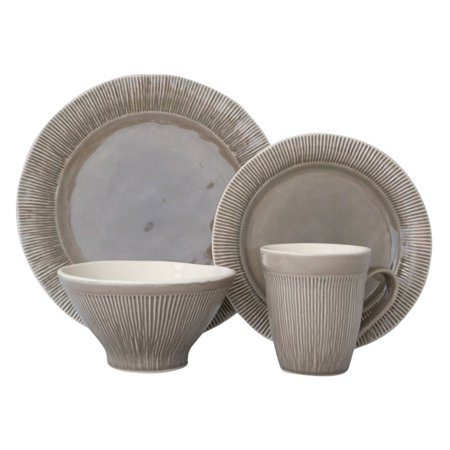 Sango Chromatic Grey 16 Piece Dinnerware Set, Including 4 Dinner Plates, 4 Salad Plates, 4 Soup Bowls, and 4 Mugs