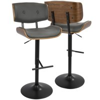 Lombardi Mid-Century Modern Adjustable Barstool in Walnut with Grey Faux Leather by LumiSource