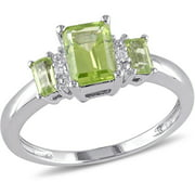 1-1/4 Carat T.G.W. Peridot and Diamond-Accent 10kt White Gold Three-Stone Ring