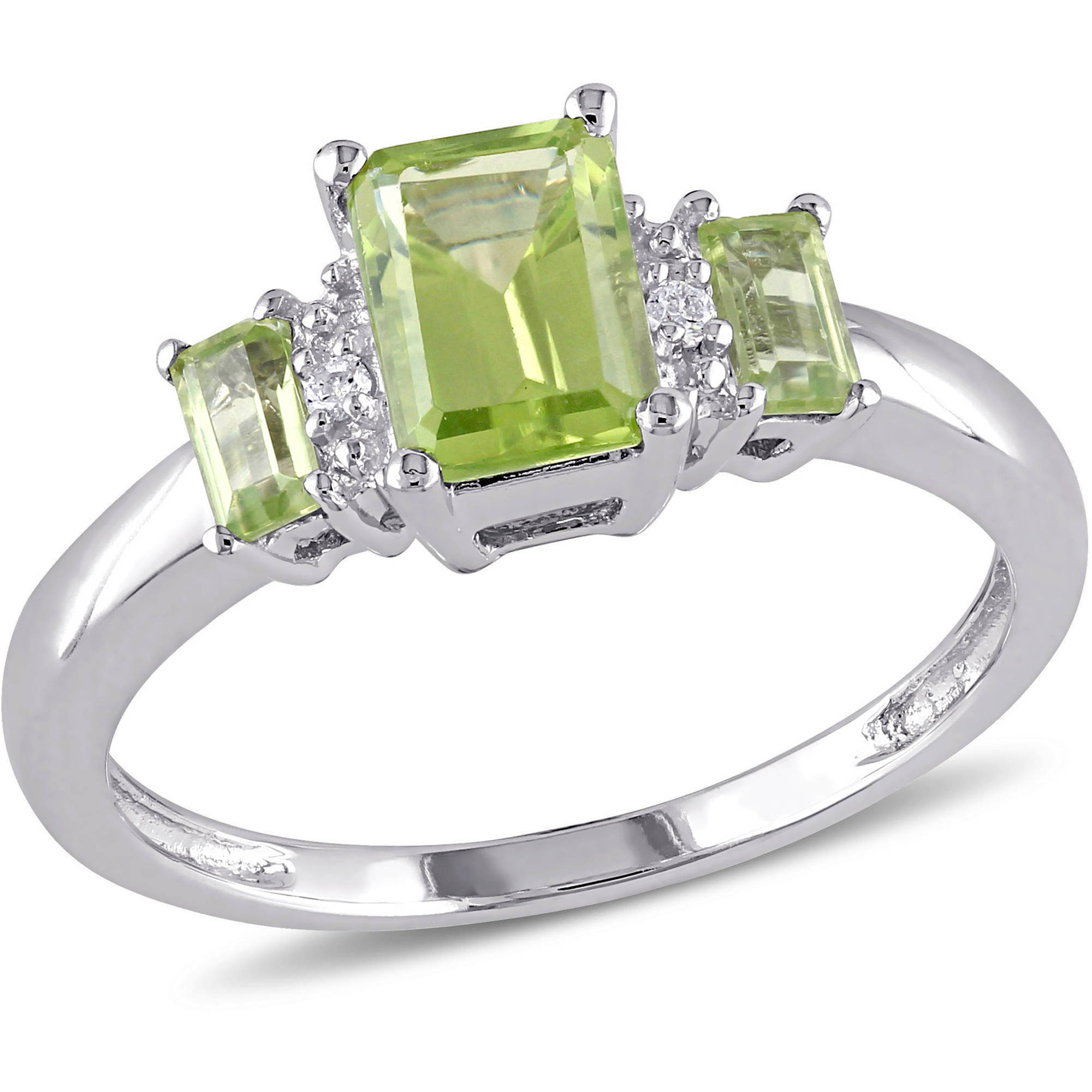 Tangelo 1-1/4 Carat T.G.W. Peridot and Diamond-Accent 10kt White Gold Three-Stone Ring
