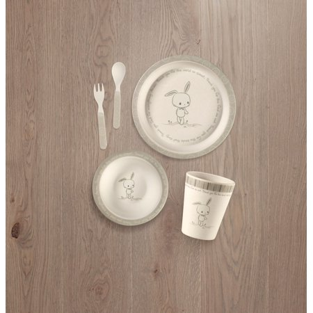 Precious Moments 5-Piece Bamboo Bunny Mealtime Gift Set 182431 Precious Moments 5-Piece Bamboo Bunny Mealtime Gift Set is a practical dinnerware gift set features cute Precious Moments artwork that makes mealtime hoppy for babies and toddlers. This unique feeding set includes everything kids and babies need to enjoy feeding/mealtime. Precious Moments 5-Piece Bamboo Bunny Mealtime Gift Set makes a great gift for birthdays, holidays, baby showers, and just because. This Precious Moments baby/toddler gift set includes plate, bowl, cup, fork, and spoon. Carefully crafted of bamboo.