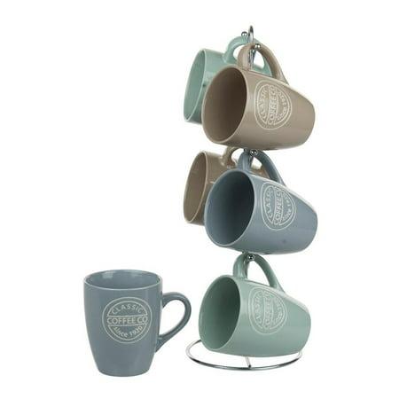 Home Basics 6-Piece Stoneware Classsic Coffee Mug Set with Chrome Stand