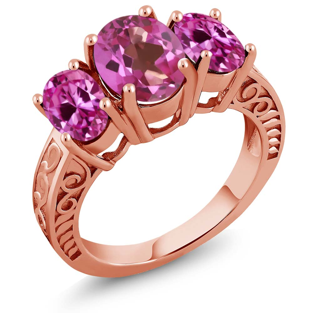 3.60 Ct Pink Mystic Topaz Pink Created Sapphire 18K Rose Gold Plated Silver Ring by