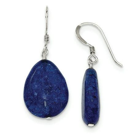 Sterling Silver Small Crack Aventurine Dark Blue Tear Drop Earrings