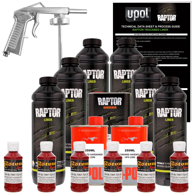 Raptor Blood Red Urethane Spray-On Truck Bed Liner Spray Gun, 6 Liters