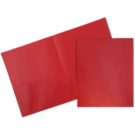JAM Paper Plastic Eco Two Pocket Presentation Folder, Red, - Plastic Folders
