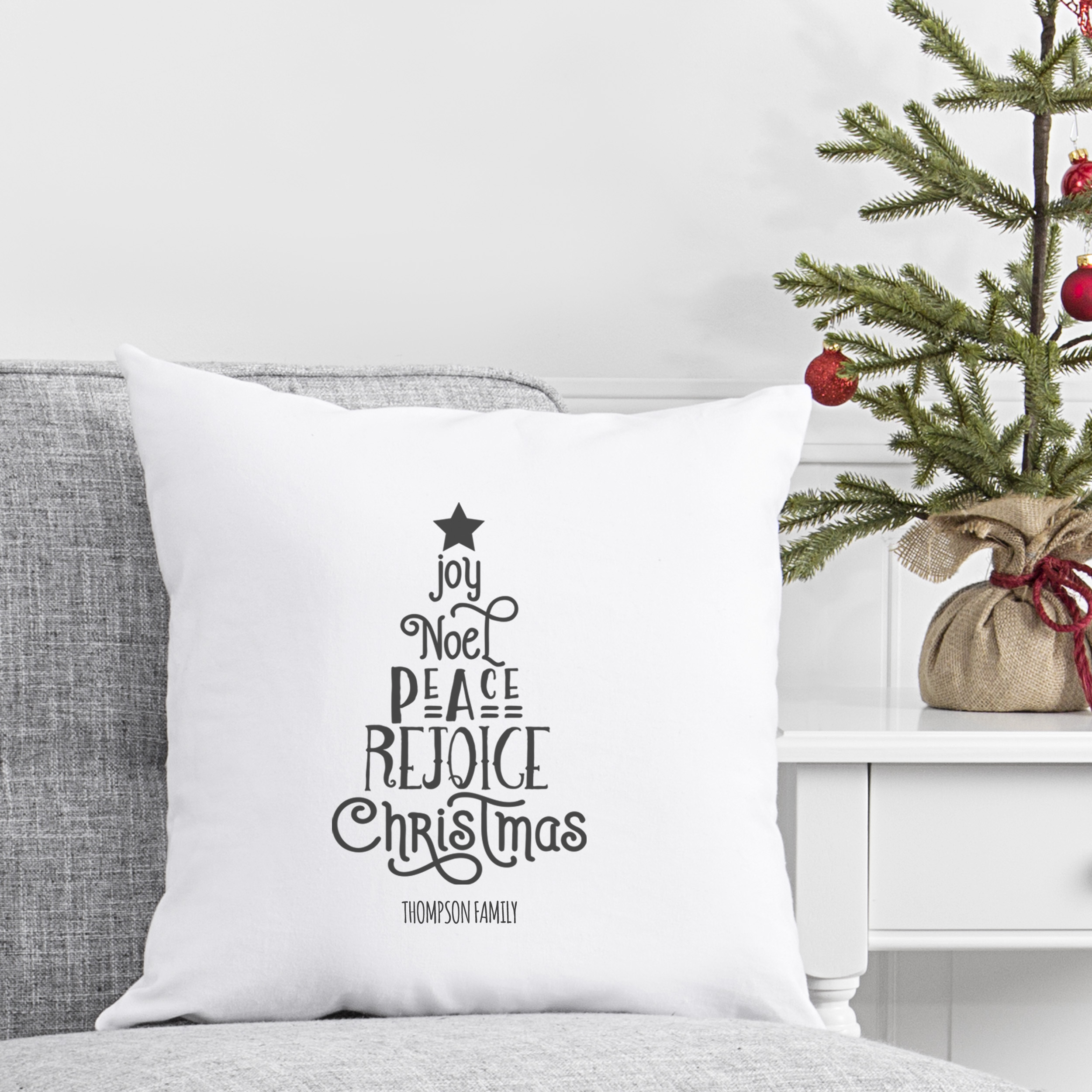"""Personalized Christmas Tree 16"""" Throw Pillow"""