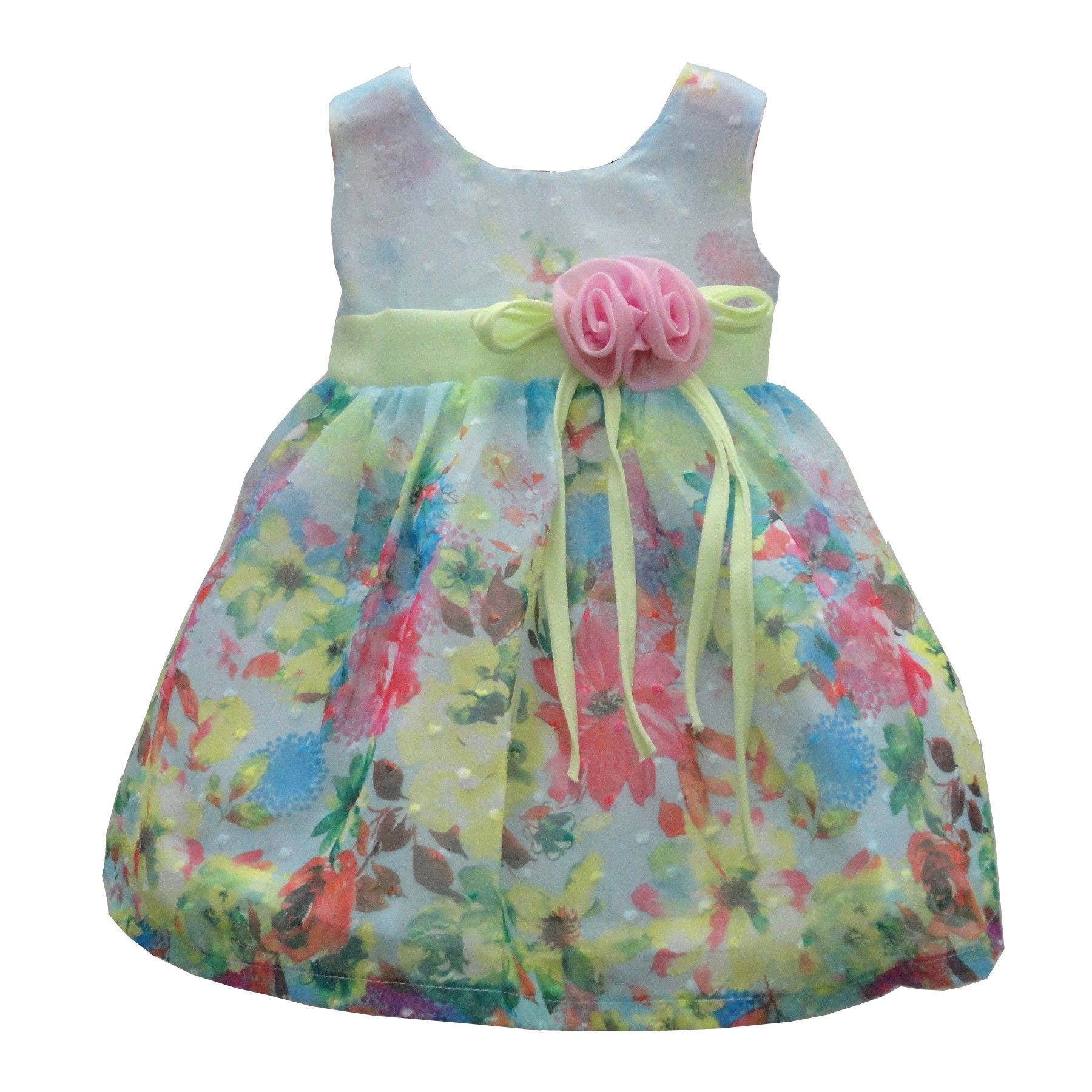 Little Girls Green Dot Embroidered Floral Print Sleeveless Casual Dress 2T