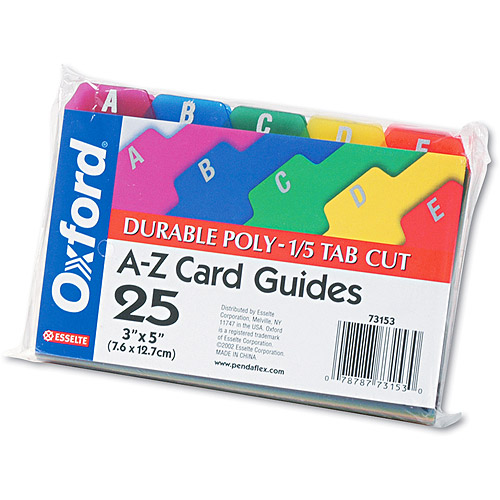 Oxford Card Guides, Alpha, 1/5 Tab, Polypropylene, 25/Set