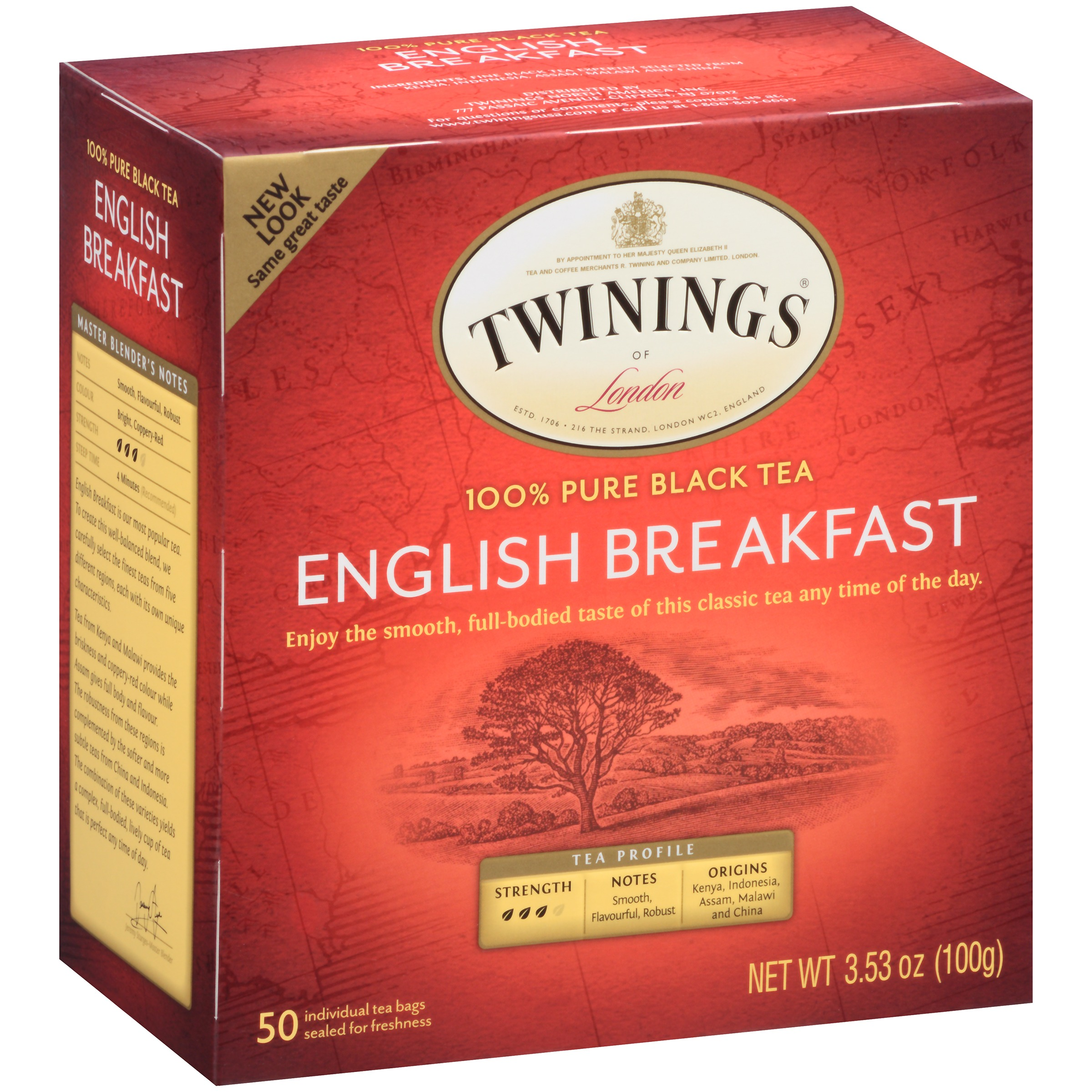 Twinings of London English Breakfast 100% Pure Black Tea, 50 count, 3.53 oz
