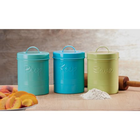 Retro Fifties Metal Canisters, Assorted Set of 3 (Pear Green, Teal, (Pear Kitchen Canister)