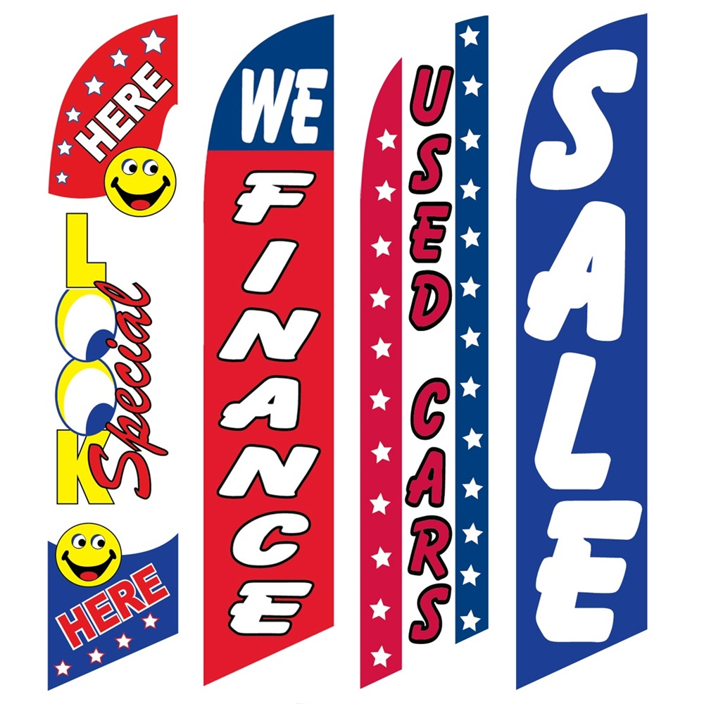 4 Advertising Swooper Flags Look Special Here We Finance Used Cars Sale